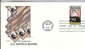 1991, 50th Anniv. US Savings Bonds, Artmaster, FDC (D15078)