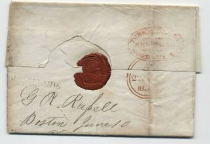 1839 Boston to London stampless Goodhue & Co. forwarder NYC [5247.128]