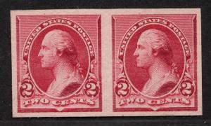**US, SC# 219dp5 Pair XF Plate Proof on Stamp Paper, No Gum, CV $80.00