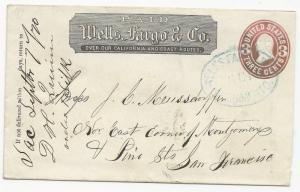US Local Cover Scott #U58 Wells Fargo & Co. Sacramento, CA Sept 7, 1870