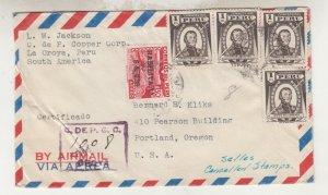 PERU, 1951 Airmail cover, La Oroya to USA.