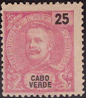Cabo Verde Cape Verde Scott 43 MNG King Carlos from 1898-1903 set Adhesion