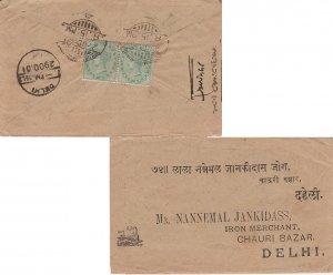India 1/2d QV (2) 1901 Victoria-Terminus to Delhi. Reverse franked. Small tea...