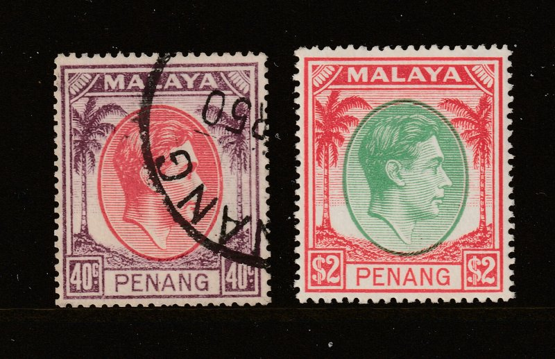 Penang a 40c used & $2 MH KGVI