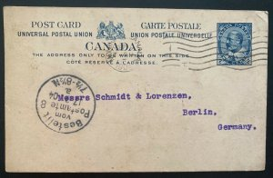 1904 Montreal Canada Postal Stationery Postcard Cover To Berlin Germany
