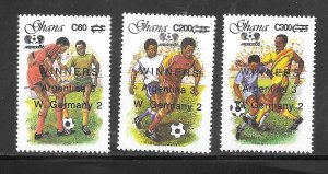 Ghana #1123 A-C MH 1989 1986 World Cup Surcharge set of 3