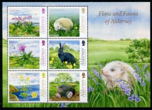 Alderney 2015 MNH Fauna & Flora 6v M/S Flowers Hedgehogs Rabbits Animals Stamps