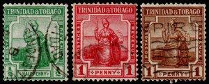 Trinidad & Tobago Scott 12-14 (1921-22) Used F-VF, CV $5.05 M