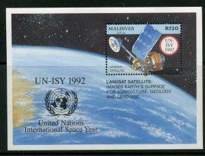 MALDIVES UN-ISY 1992  LANDSAT SATELLITE SOUVENIR SHEET  MINT NH