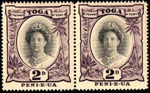 Tonga 1942 Sg76 2d Black & Purple Die II Wmk MSCA Pair MNH