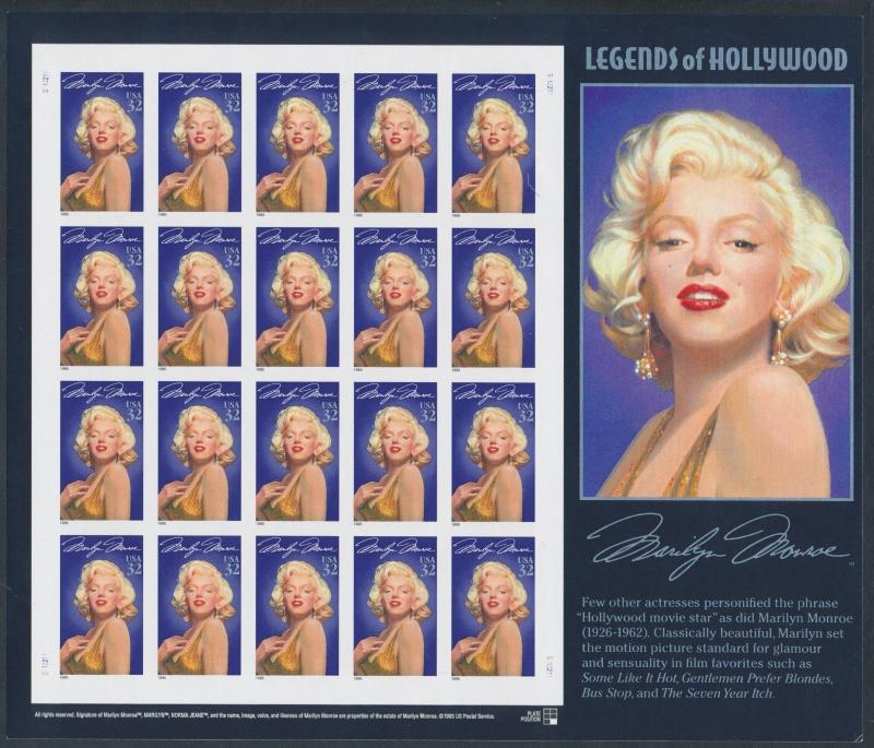 #2967a MARILYN MONROE IMPERF PANE OF 20 MAJOR ERROR WL7154