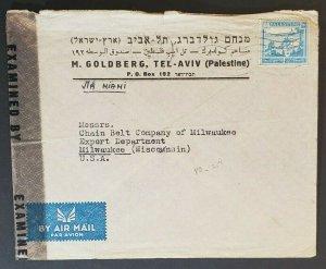 1945 Palestine Milwaukee Wisconsin Goldberg Advertising Censored Air Mail Cover
