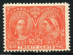 CANADA JUBILEE SC#59 20c F/VF CENTERING BRILLIANT EXCEPTIONAL COLOR MINT LH OG