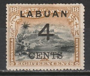 LABUAN 1899 LARGE 4C OVERPRINTED MOUNT KINABALU 18C