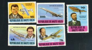 Upper Volta Scott #462-466 Airplanes - M NH