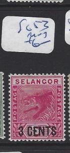 MALAYA  SELANGOR   (PP2507B) 3C  SURCH   TIGER   SG  53   MOG
