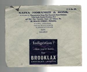 1940 Penang Malaya Advertising Cover to England Chocolate Laxative Brooklax