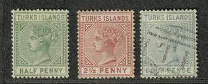 Turks Islands Sc#48-50 M+U/H/F-VF, Complete Set, Cv. $51.25