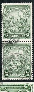 Barbados SG248a 1/2d Perf 13.5 x 13 R10/6 RECUT LINE in Fine Used PAIR