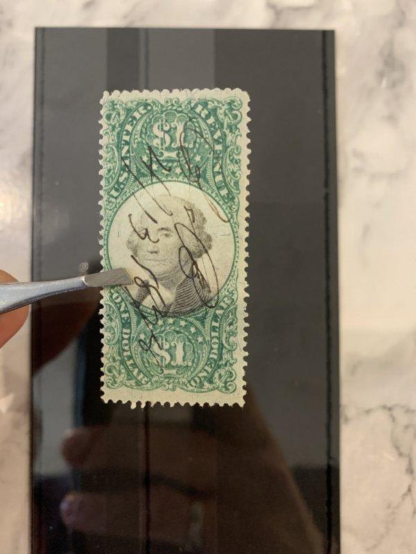 USA Revenue Stamp $1 High Value GEORGE WASHINGTON Used {samwells-covers}