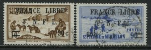 St. Pierre & Miquelon 1942 overprinted France Libre 30¢ and 60¢ values used