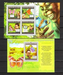 Guinea 2011 butterflies insects klb+s/s MNH