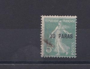FRENCH COLONIES TURKISH EMPIRE 1921-2   30PA ON 5C GREEN   USED
