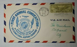 Intl Airmail Exhibition Airmail Syracuse NY Philatelic Cachet Cover 1933