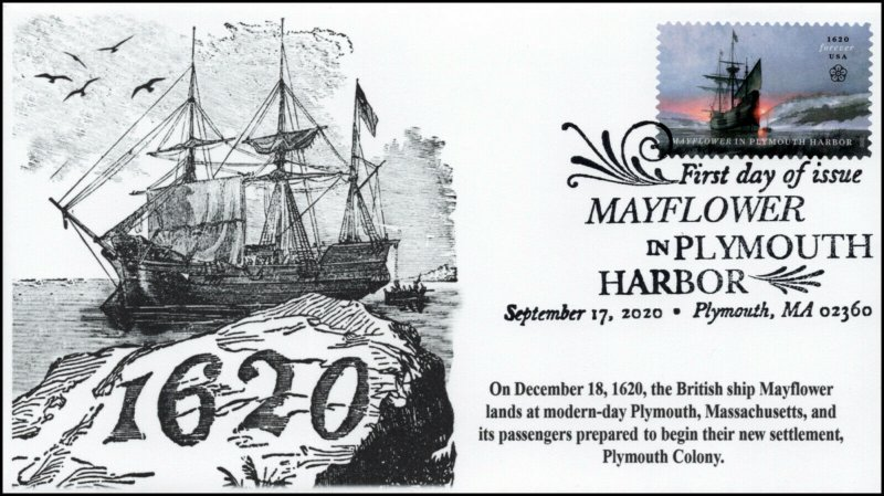 20-236, SC 5524, 2020, Mayflower in Plymouth Bay, FDC, Pictorial Postmark, 400th