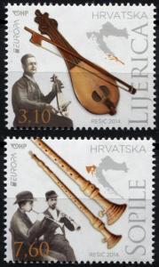 Croatia. 2014. EUROPA – Folk Instruments (MNH OG) Set of 2 stamps