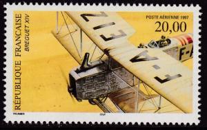 France 1997 Scott C60 20fr. Airmail The Breguet XIV  perf 13X13 1/2 VF/NH