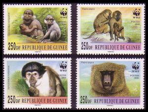 Guinea WWF Mangabey and Baboon 4v