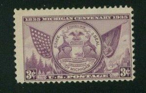 US 1936 3c purple Michigan Centennial, Scott 775 Mint No Gum, Value = 35c