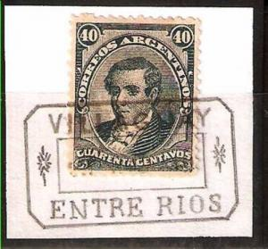 LOT 287 ARGENTINA 1888-90 KIDD ISSUE MORENO GJ 95A,DENT 12 USED VILLAGUAY E.R.