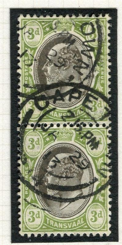 TRANSVAAL Interprovincial Period Ed VII CAPE TOWN Postmark on 3d. pair