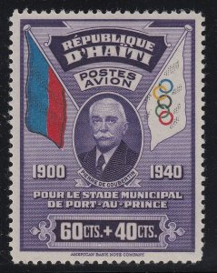 Haiti 1939 60c + 40c Coubertin Semi Postal LM Mint. Scott CB1