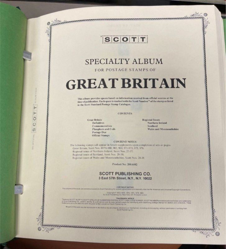 GREAT BRITAIN AND COLONIES SCOTT SPECIALTY SERIES ALBUMS