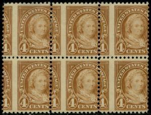 #556 VAR. BLK/6 4¢ MARTHA WITH MAJOR PERF SHIFT ERROR BQ2322