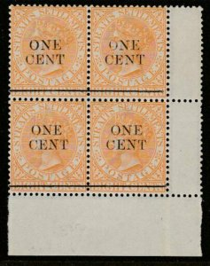 MALAYA STRAITS SETTLEMENTS 1892 ONE CENT opt block of 4 MNH SG91...........65947