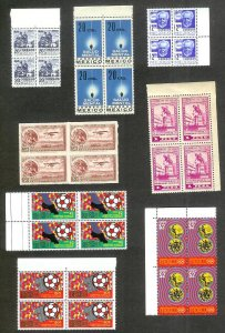 MEXICO (248) Blocks of 4 stamps ALL Mint Never Hinged w/Some Better