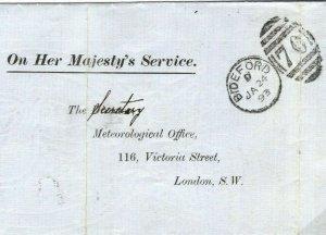GB Cover Devon BUCKS CLIFF Bideford Completed MET OFFICE BAROMETER 1893 58.18
