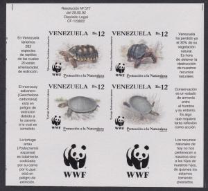 Venezuela WWF Tortoise and Turtle 4v imperf block 2*2 with Bottom WWF Logo