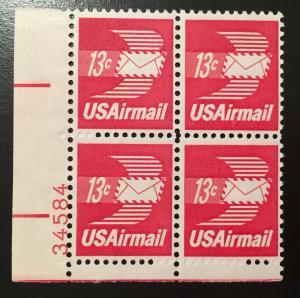 C79 Flying Envelope, MNH, Plate Block Vic's Stamp Stash