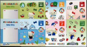 HERRICKSTAMP NEW ISSUES UNITED NATIONS Hello Kitty - Global Goals Set of 6 S/S