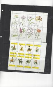 Scotland - Eynhallow 2 Deluxe Sheets of 8 Soldiers/Flowers CTO O/G NH