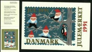 Denmark. Christmas Seals 1991 Souvenir Folder. Santa, Bird