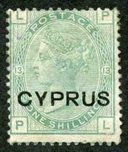 Cyprus SG6 1/- green plate 13 Mint (part gum)
