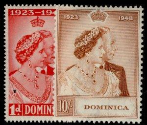 DOMINICA GVI SG112-113, ROYAL SILVER WEDDING set, M MINT. Cat £25.