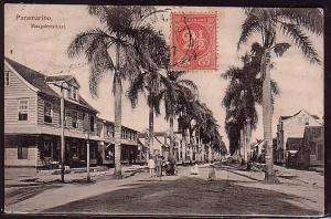 SURINAME 1907 postcard, Paramaribo sq.circle, SURINAME VIA HAVRE boxed.....34438