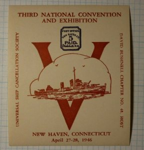 USCS Convention New Haven CT Local Post 1946 Philatelic Souvenir Ad Label